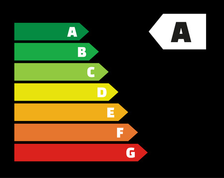 energy labels with classes on black background