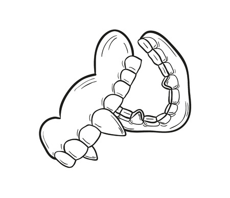 sketch of the vampire denture on white background, isolated