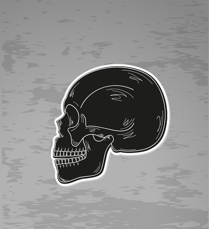black skull on dark grunge background Illustration