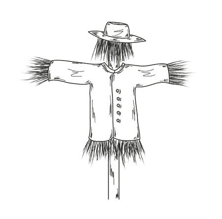 ghostly: sketch of the scarecrow on white background