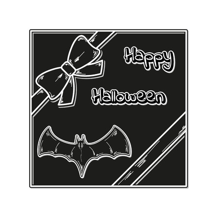 happy halloween gift card with ribbon and bat, vector Vector