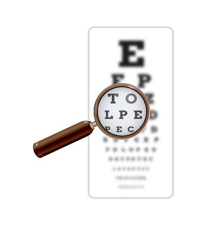 snellen: sharp and unsharp snellen chart with magnifying glass on white background