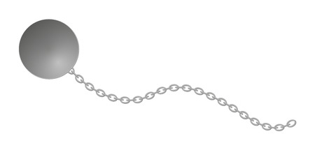shackled: heavy ball with long chain, isolated Illustration