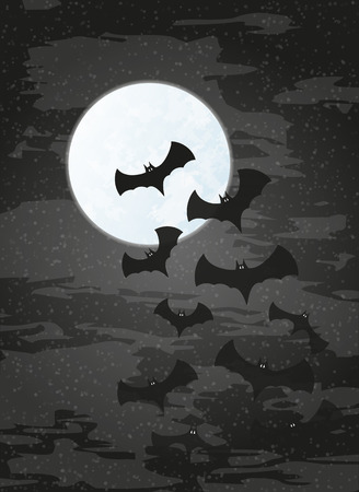 ghostly: night with moon and bats on dark sky