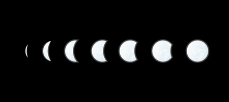 phases of the moon on black background Illustration