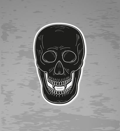 black skull with  vampire teeth on dark background, vector