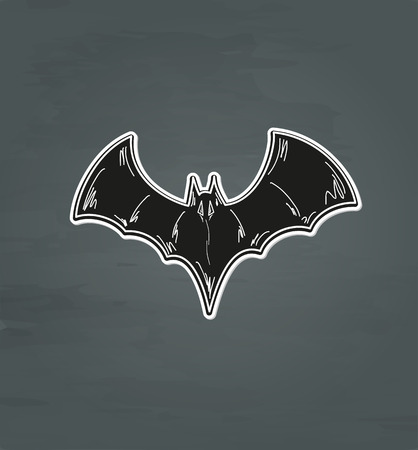 fearsome: sketch of the black bat on dark background, vector