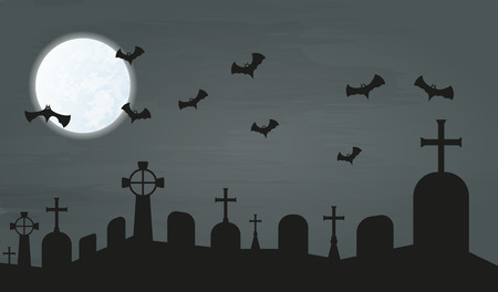 cemetery in the night with bats and moon Vector