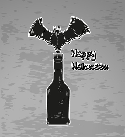 happy halloween with black bottle and bat Vector