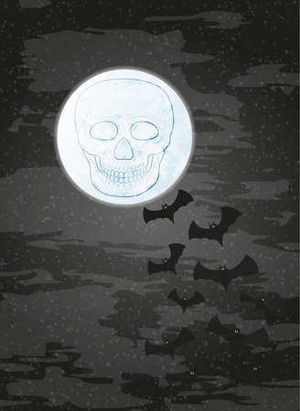 fearsome: night with moon, skull and bats on dark sky