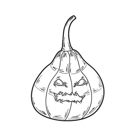 haunt: illustration of pumpkin on white background Illustration