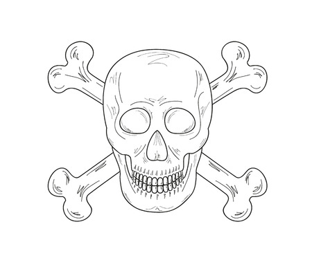 haunt: sketch of the skull and bones on white background