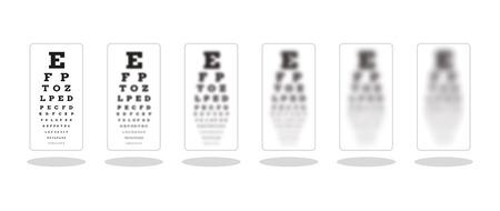 シャープと他の視力損傷のシンボルとして 5 アンシャープ スネレン