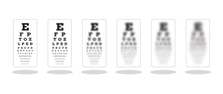 snellen: sharp and five unsharp snellen chart as a symbol of different sight damage
