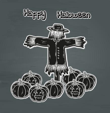 bugaboo: nero zucca di Halloween con gli occhi e spaventapasseri Vettoriali