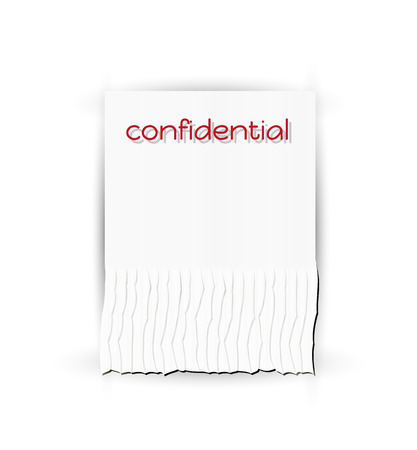 confidentiality: paper with text confidential and shredded stripes, vector Illustration