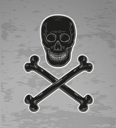black skull and bones on dark background, vector Vector