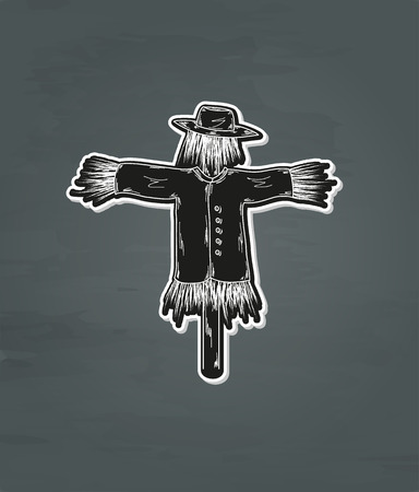 ghostly: black scary scarecrow on dark background, vector Illustration