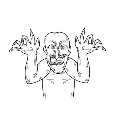 ugly man: black old ugly man with horrible claws, sketch, vector Illustration