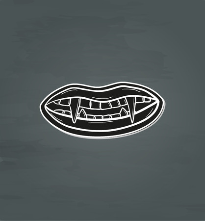 black vampire teeth with lips on dark background, vector