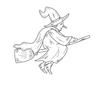 sketch of the old ugly witch with broom, vector Vector