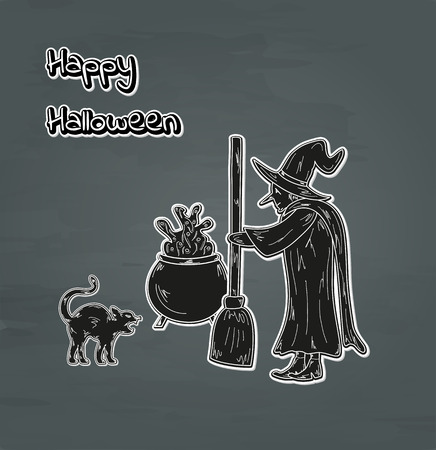 old witch, cat and cauldron happy halloween card, vector Vector
