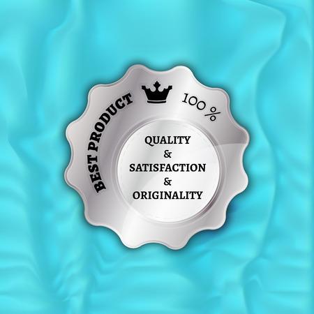 silver stamp, sticker, or label on velvet background Vector