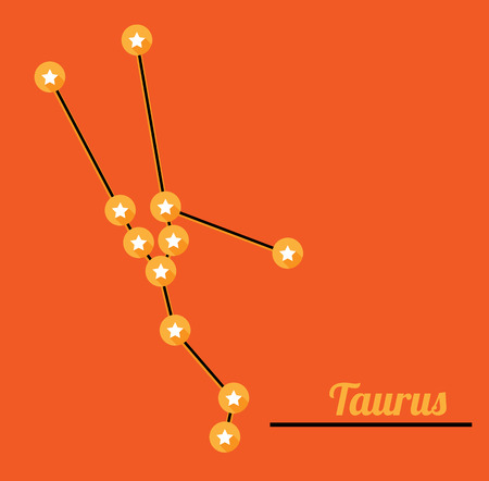 star constellation of taurus on dark sky, vector Vector