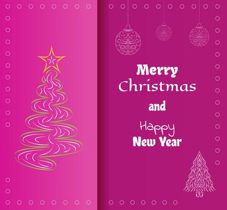 merry christmas card with red background and christmas elements Vector