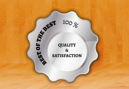 silver stamp, sticker, or label on wooden background Vector