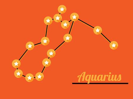 star constellation of aquarius on dark sky, vector Vector