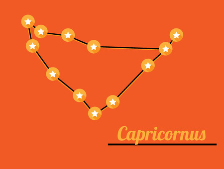 capricornus: star constellation of capricornus on dark sky, vector