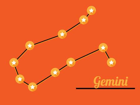 star constellation of gemini on dark sky, vector Vector