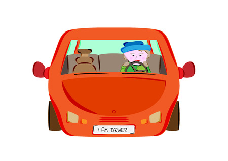 drivers: driver in red car, front view, isolated, vector Illustration
