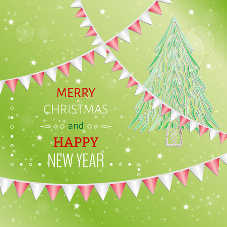 merry christmas card with red background and christmas elements and bunting flags Vector