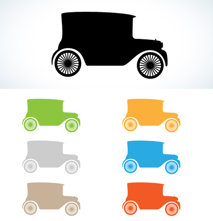 old car silhouettes in seven colors, vector, isolated Vector