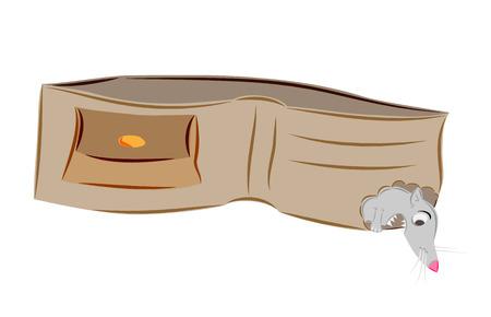 lege portemonnee en muis op wit Stock Illustratie