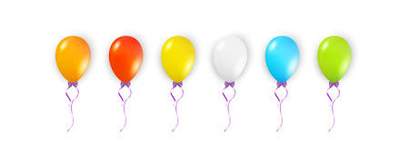 inflated: different color of inflated balloons, balloons for birthday party or celebration