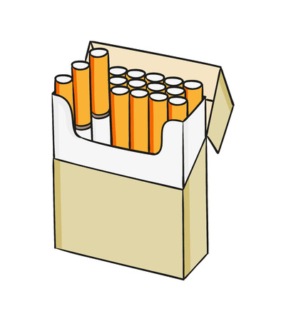 baccy: sketch of the cigarettes pack on white background, isolated
