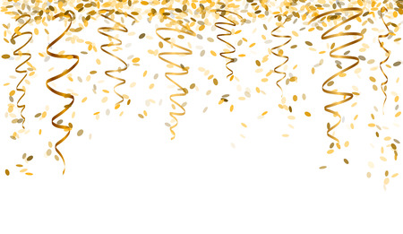 falling oval confetti and ribbons with gold color Vectores