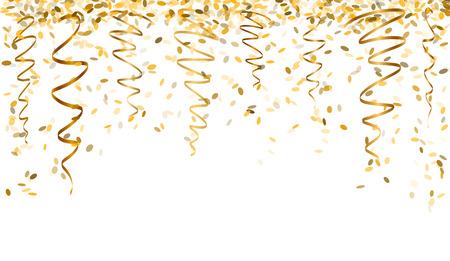 padající oválný konfety a pásky se zlatou barvou Ilustrace
