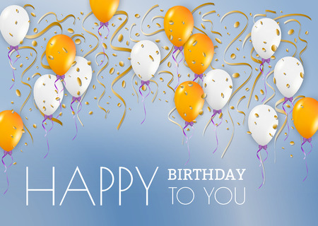 happy birthday card with blue background and balloons, vector Vector