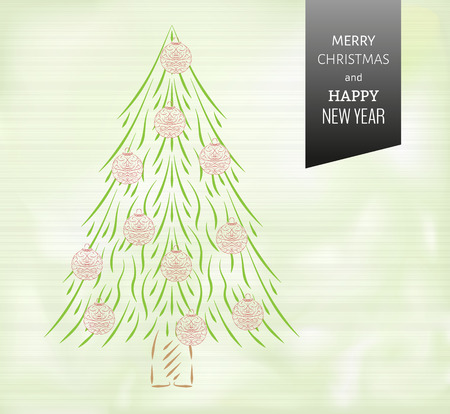 merry christmas card with green background and christmas tree with ornaments Vector