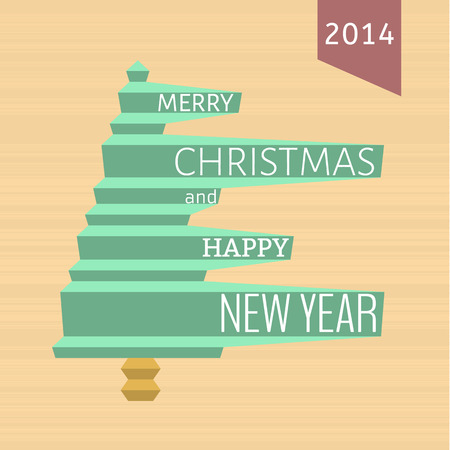 merry christmas card with christmas tree and text Vector