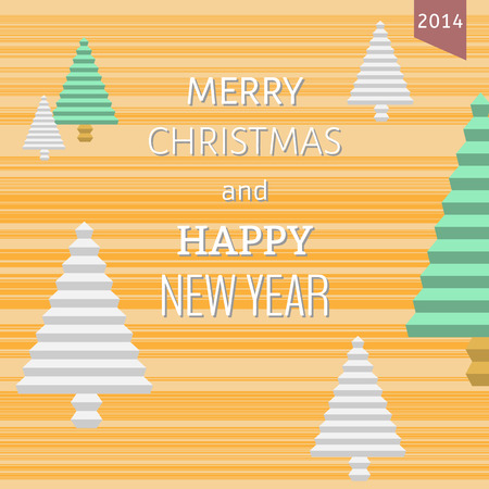 merry christmas card with christmas trees and text Vector