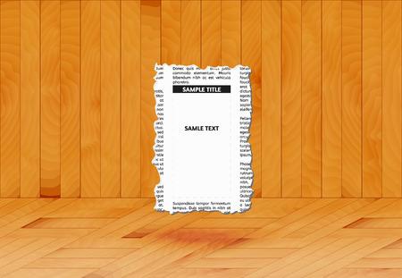 Morceau de journal avec place vide pour votre texte ou de la publicité dans la salle en bois, vecteur Banque d'images - 32754607