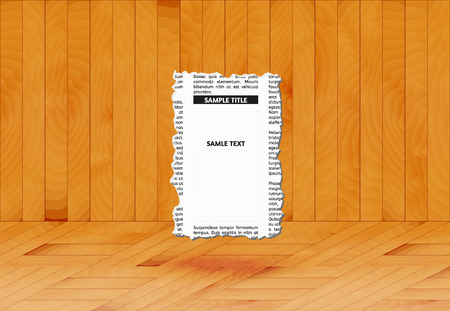 room for text: piece of newspaper with empty place for your text or advertisement in wooden room, vector Illustration