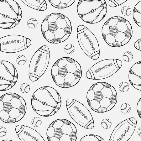 sketch of different balls on gray background Vector