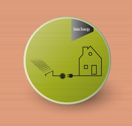 ecological green electricity sticker (solar energy) on brown background, vector Vector