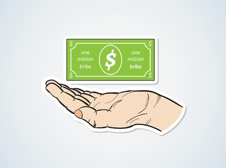 bestechung: Bestechung und Hand auf blauem Hintergrund mit Farbverlauf Illustration